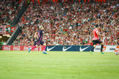 BILBAO, SPANIEN - 28. AUGUST: Leo Messi, FC- Barcelonaspieler, in der Aktion während eines spanischen Ligaspiels zwischen Athleti Lizenzfreie Stockfotografie