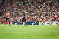 BILBAO, SPANIEN - 28. AUGUST: Leo Messi, FC- Barcelonaspieler, in der Aktion während eines spanischen Ligaspiels zwischen Athleti Lizenzfreies Stockbild