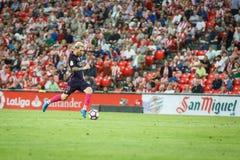 BILBAO, SPANIEN - 28. AUGUST: Leo Messi, FC- Barcelonaspieler, in der Aktion während eines spanischen Ligaspiels zwischen Athleti Stockfotografie