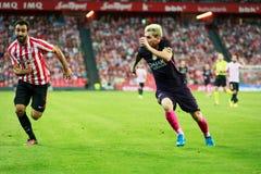 BILBAO, SPANIEN - 28. AUGUST: Lionel Messi und Mikel Balenziaga, im Match zwischen Athletic Bilbao und FC Barcelona, feiern Stockfoto