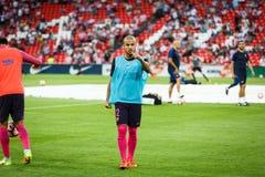 BILBAO, SPANIEN - 28. AUGUST: Rafinha Alcantara in der Heizung des Matches zwischen Athletic Bilbao und FC Barcelona, gefeiert au Lizenzfreies Stockbild
