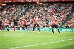 BILBAO, SPANIEN - 28. AUGUST: Raul Garcia, Aritz Aduriz, Mikel Vesga und Sergio Busquets während des Spiels zwischen Athletic Bil Stockbilder