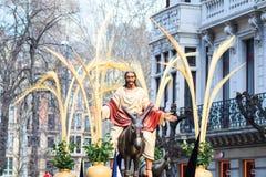 BILBAO SPANIEN - MARS 20: Procession av åsnan i påsk som firas på mars 20, 2016, i Bilbao Arkivbilder