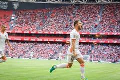 BILBAO SPANIEN - SEPTEMBER 18: Alvaro Medran Valencia CFspelare, firar hans mål i matchen mellan idrotts- Bilbao och dal Royaltyfria Foton
