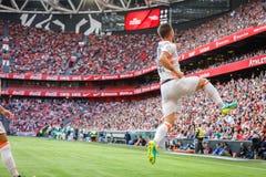 BILBAO SPANIEN - SEPTEMBER 18: Alvaro Medran Valencia CFspelare, firar hans mål i matchen mellan idrotts- Bilbao och dal Arkivfoto