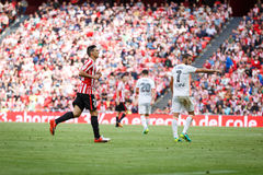 BILBAO, SPANIEN - 18. SEPTEMBER: Aritz Aduriz, Bilbao-Spieler, während des Spiels zwischen Athletic Bilbao und Valencia CF, feier Stockfotografie
