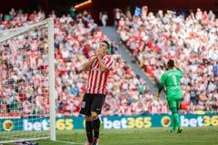 BILBAO SPANIEN - SEPTEMBER 18: Aritz Aduriz idrotts- klubbaBilbao spelare, i matchen mellan idrotts- Bilbao och Valencia CF, cel Royaltyfri Bild