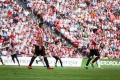 BILBAO SPANIEN - SEPTEMBER 18: Aritz Aduriz idrotts- klubbaBilbao spelare, i matchen mellan idrotts- Bilbao och Valencia CF, cel Royaltyfria Bilder