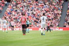 BILBAO, SPANIEN - 18. SEPTEMBER: Artiz Aduriz und Aderlan Santos, in der Aktion während eines spanischen Ligaspiels zwischen Athl Lizenzfreie Stockfotos
