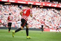 BILBAO SPANIEN - SEPTEMBER 18: Aymeric Laporte idrotts- klubbaBilbao spelare, i matchen mellan idrotts- Bilbao och Valencia CF, Arkivfoto