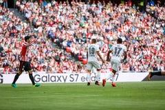 BILBAO SPANIEN - SEPTEMBER 18: Boveda, Nani och Rodrigo i handling under en spansk ligamatch mellan idrotts- Bilbao och Valenci Royaltyfria Foton
