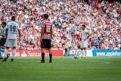 BILBAO SPANIEN - SEPTEMBER 18: Dani Parejo Valencia spelare, i handling under en spansk ligamatch mellan idrotts- Bilbao och Va Arkivfoto