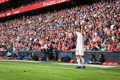 BILBAO SPANIEN - SEPTEMBER 18: Gaya Valencia CFspelare, i handling under en spansk ligamatch mellan idrotts- Bilbao och Valenc Arkivbild