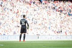 BILBAO SPANIEN - SEPTEMBER 18: Kepa Arrizabalaga Bilbao målvakt, under en spansk ligamatch mellan idrotts- Bilbao och dal Royaltyfri Fotografi