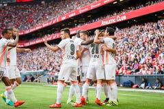 BILBAO SPANIEN - SEPTEMBER 18: Munir El Haddadi och Daniel Parejo under en spansk ligamatch mellan idrotts- Bilbao och Valenci Arkivfoton