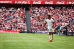 BILBAO SPANIEN - SEPTEMBER 18: Nani Valencia CFspelare, i handling under en spansk ligamatch mellan idrotts- Bilbao och Valenc Arkivfoton