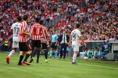 BILBAO SPANIEN - SEPTEMBER 18: Oscar de Marcos, Inaki Williams, Gaya och Nani, under matchen mellan idrotts- Bilbao och Valenci Royaltyfri Fotografi