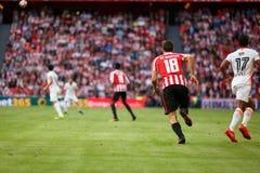 BILBAO SPANIEN - SEPTEMBER 18: Oscar de Marcos och Nani, under en spansk ligamatch mellan idrotts- Bilbao och Valencia CF, cel Royaltyfri Foto
