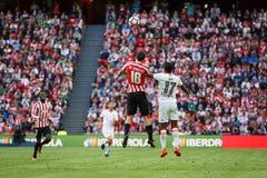 BILBAO SPANIEN - SEPTEMBER 18: Oscar de Marcos och Nani, under en spansk ligamatch mellan idrotts- Bilbao och Valencia CF, cel Royaltyfria Foton