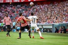 BILBAO SPANIEN - SEPTEMBER 18: Oscar de Marcos och Nani, under en spansk ligamatch mellan idrotts- Bilbao och Valencia CF, cel Arkivfoton