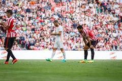 BILBAO SPANIEN - SEPTEMBER 18: Raul Garcia idrotts- klubbaBilbao spelare, i matchen mellan idrotts- Bilbao och Valencia CF, cele Royaltyfri Foto