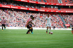 BILBAO, SPANIEN - 18. SEPTEMBER: Rodrigo Moreno, Valencia CF-Spieler, in der Aktion während des Spiels zwischen Athletic Bilbao u Lizenzfreies Stockbild
