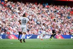 BILBAO SPANIEN - SEPTEMBER 18: Rodrigo Moreno Valencia CFspelare, i handling under en spansk ligamatch mellan idrotts- Bilbao Arkivbild