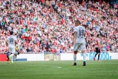 BILBAO SPANIEN - SEPTEMBER 18: Rodrigo Moreno Valencia CFspelare, i handling under en spansk ligamatch mellan idrotts- Bilbao Royaltyfri Bild
