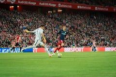 BILBAO, SPANJE - APRIL 20: Fernando Torres en Gorka Iraizoz in de gelijke tussen Atletische Bilbao en Athletico DE Madrid, celebr Stock Afbeelding