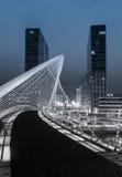 Nightview van brug Zubizuri en torens Isozaki in Bilbao, Spanje Stock Fotografie