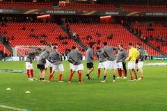 BILBAO, SPANJE - ARPIL 7: De opleidende spelers van voetballersSevilla FC in de gelijke tussen Atletisch Bilbao en Sevilla in qua royalty-vrije stock foto