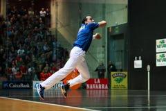 BILBAO, SPANJE - ARPIL 9: Juan Martinez de Irujo in het gevierde spel van het handbalkampioenschap van paren alvorens de bal te r Stock Afbeeldingen