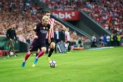 BILBAO, SPANJE - AUGUSTUS 28: Lionel Messi in de gelijke tussen Atletische die Bilbao en FC Barcelona, op 28 Augustus, 2016 I wor Royalty-vrije Stock Afbeeldingen
