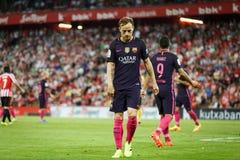 BILBAO, SPANJE - AUGUSTUS 28: Luis Suarez en Ivan Rakitic, FC-spelers, tijdens een Spaanse Ligagelijke tussen Atletische Bilbao e royalty-vrije stock foto's