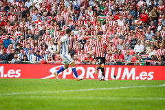 BILBAO, SPANJE - OKTOBER 16: Aritz Aduriz, tijdens een Spaanse Ligagelijke tussen Atletisch Bilbao en Echte Sociedad, vierde op O Stock Foto's