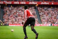 BILBAO, SPANJE - OKTOBER 16: Inaki Williams, de Atletische speler van Clubbilbao, in de Spaanse Ligagelijke tussen Atletisch Bilb Stock Afbeelding