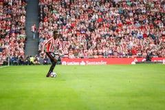 BILBAO, SPANJE - OKTOBER 16: Inaki Williams, de speler van Ahtletic Bilbao, tijdens een Spaanse Ligagelijke tussen Atletisch Bilb Stock Afbeeldingen