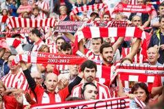 BILBAO, SPANJE - OKTOBER 16: Ventilators van Atletische Club Bilbao in actie in de gelijke tussen Atletisch Bilbao en Echte Socie Stock Foto's