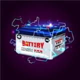 Bilbatteriet med elkraft gristrar belysningeffekt maktenergi c vektor illustrationer