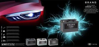 Bilbatteriet med elkraft gristrar belysningeffekt maktenergibegrepp - vektorillustration vektor illustrationer