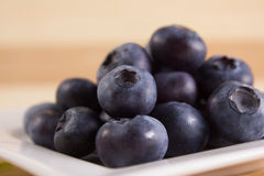 Bilberries close on a white plate. Bilberries close on a white square-shaped plate Royalty Free Stock Photography