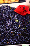 Bilberries on market close up photo. With scapula Royalty Free Stock Photography