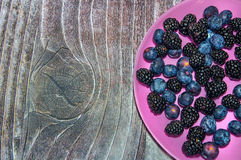 Bilberries on a pink plate. And wood background royalty free stock photography