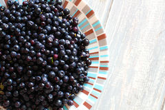 Bilberries in white plate on wooden grey desk. Royalty Free Stock Image