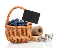Bilberry in a basket to the board for text Stock Photos