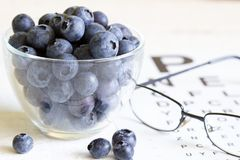 Bilberry cure for eyes concept with glasses. Closeup Stock Images
