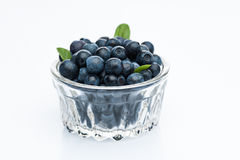 Bilberry fruits at glass cup isolated Royalty Free Stock Photos