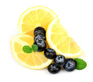 Bilberry about a lemon and mint Royalty Free Stock Image