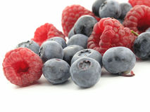 Bilberry and Raspberry. Fruits stock image