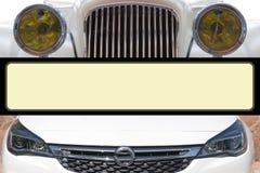 Bilbillyktor från olika tider royaltyfria foton